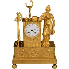 French Empire Ormolu Mantel Clock Depicting the Arts and Sciences