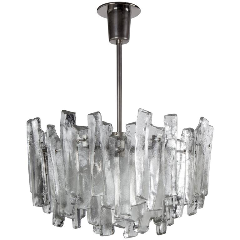 Kalmar Glass and Nickel Chandelier, Circa 1960 For Sale