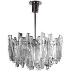 Kalmar Glass and Nickel Chandelier, Circa 1960