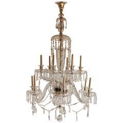 Spectacular 1930s Large Twelve-Light Glass Chandelier