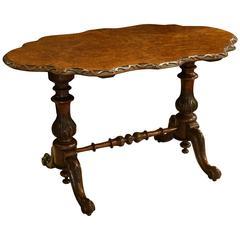 Burr Walnut Victorian Stretcher Table