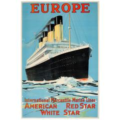 Original 1910s Cruise Ship Poster, Europe IMM Lines American Red Star White Star