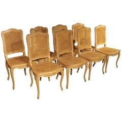 Set of Eight Louis XV Style Caned Dining Chairs from France