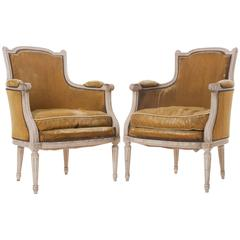 Pair of French 19th Century Louis XVI Painted Bergères