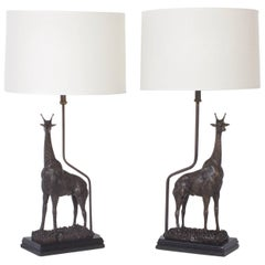 Pair of Bronze Giraffe Table Lamps