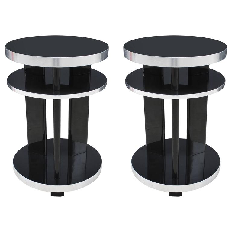 Pair Of Round Art Deco Side Tables For Sale At 1stdibs