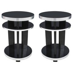 Pair of Round Art Deco Side Tables