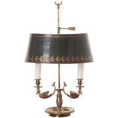 French 19th Century Bouillotte Lamp with Tole Shade