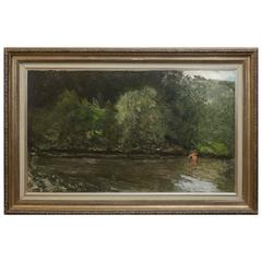 """Rezso Burghardt Painting """"Crossing the River"""""""