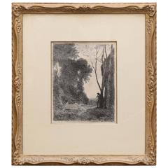 Jean Baptiste Camille Corot Etching