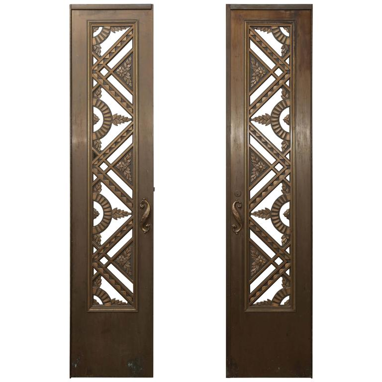 Two French Art Deco Bronze/Copper Doors For Sale