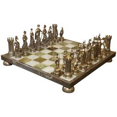 German Jewel-Encrusted Sterling Silver Chess Set