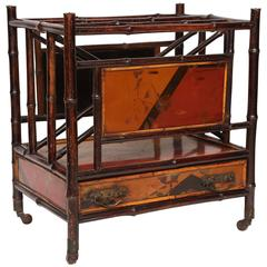 19th Century English Bamboo Canterbury Magazine Rack