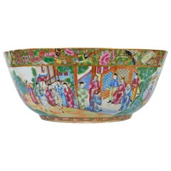 Chinese Export 'Canton Famille Rose,' or 'Rose Medallion' Large Center Bowl