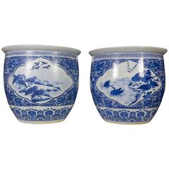 Large Pair of Chinese Blue and White Porcelain Planters/Fishbowls/Jardinière