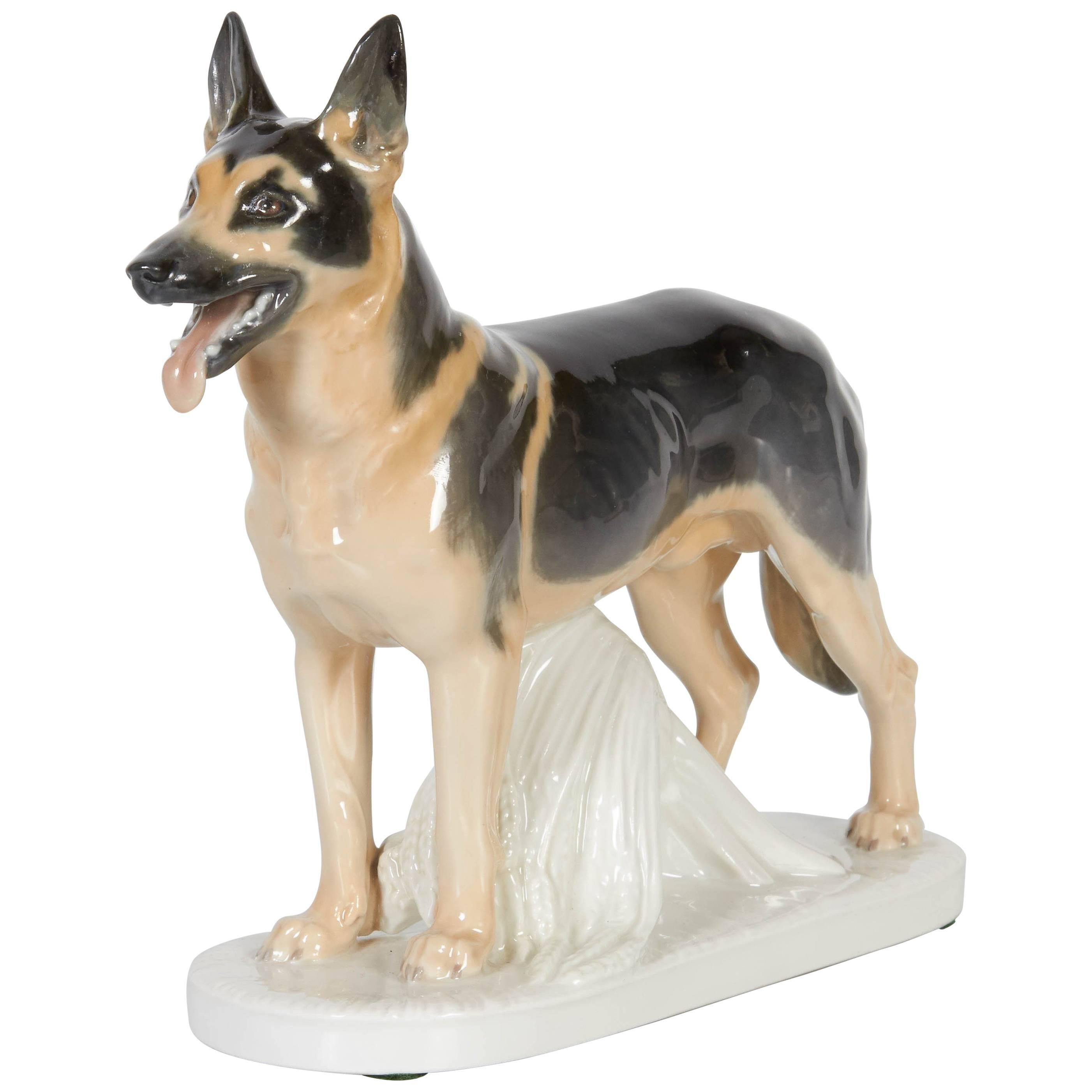 Meissen Porcelain Figure of German Shepherd Dog