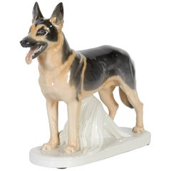 Meissen Porcelain Figure of German Shepherd Dog