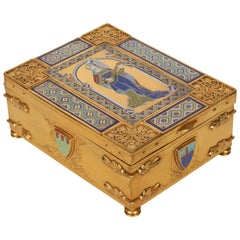American Bronze and Enameled Box/Humidor by E.F. Caldwell, New York, 1900s