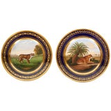 """Pair of """"Darte Brothers"""" Porcelain Plates of Lioness and Cheetah"""