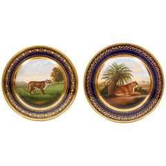 "Pair of ""Darte Brothers"" Porcelain Plates of Lioness and Cheetah"