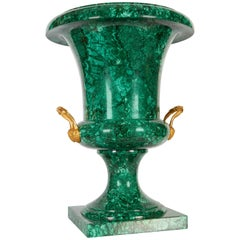 Large Russian Neoclassical Malachite and Ormolu Urn or Vase, 19th Century