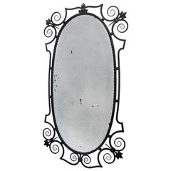 Fine Art Deco Wrought Iron Tall Mirror