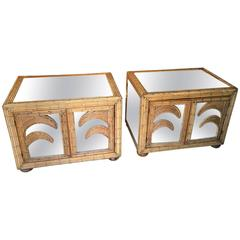 Beautiful Pair of Bamboo and Mirror Nightstands Italian, circa 1960