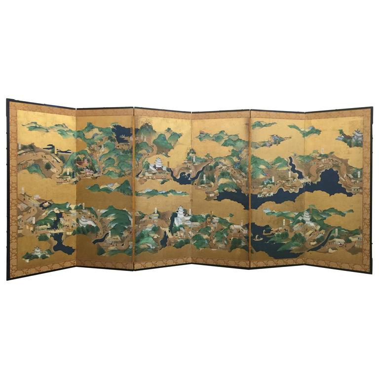 Late 18th-19th century Japanese Screen, Byobu, Scenes from Kyoto to Tokyo For Sale