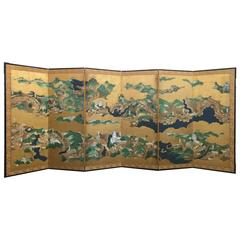 One of a Pair of 18th Century Japanese Screens