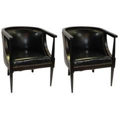 Pair of Mid-Century Walnut Barrel Armchairs