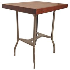 Small Industrial Metal Wood Top Table