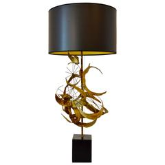 Brutalist Brass Lamp by Curtis Jere