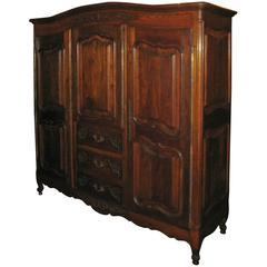 Country French Carved Oak Armoire
