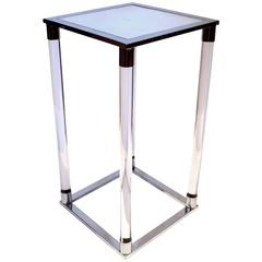1970s Chrome and Lucite with Mirror Top Low Pedestal