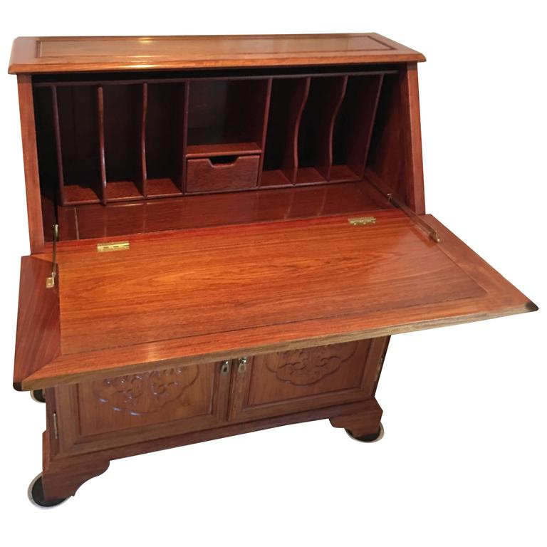 Rosewood Asian Writing Desk with Drop Down Front For Sale - Rosewood Asian Writing Desk With Drop Down Front For Sale At 1stdibs