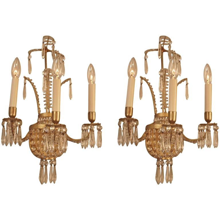 Pair of 1930s Crystal Wall Sconces