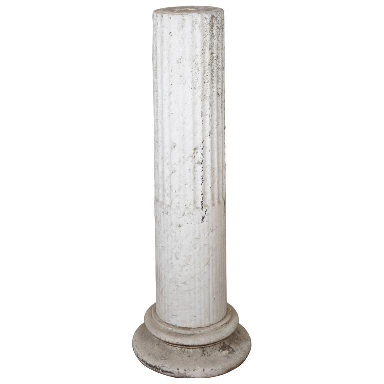 18th Century Cared White Marble Garden Pedestal
