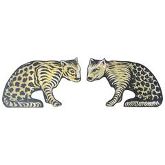 Pair of Hand-Painted Wildcats