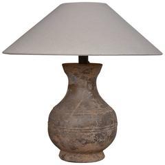 Chinese Han Dynasty Unglazed Vase Antique Table Lamp