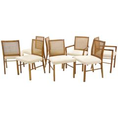 Set of Eight Dining Chairs by Founders Two Armchairs and Six Side Chairs