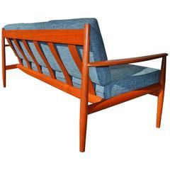 Restored Grete Jalk Teak Frame Sofa Teal Tweed for France and Sons