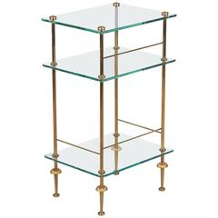 Mid-Century French Brass and Glass Side Table