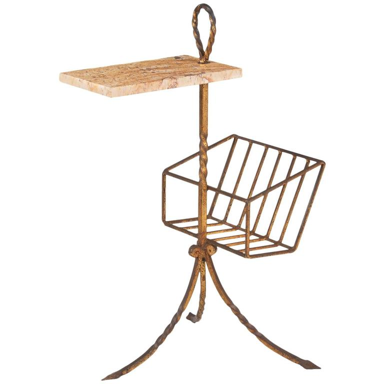 Spanish Mid-Century Gilded Metal Side Table with Magazine Holder For Sale