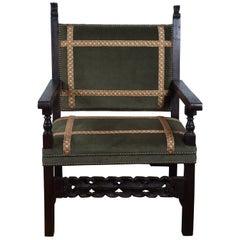Period 17th Century Walnut Spanish Large Armchair