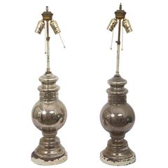 Pair of Antique Mercury Glass Table Lamps