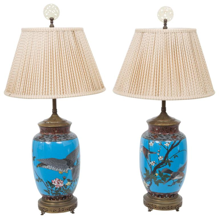 Cloisonné table lamps, 1920s