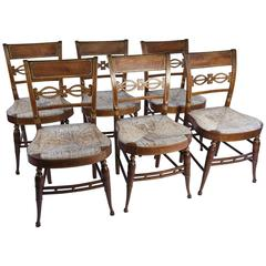 Very Fine Set of American Sheraton Tiger Maple Fancy Chairs