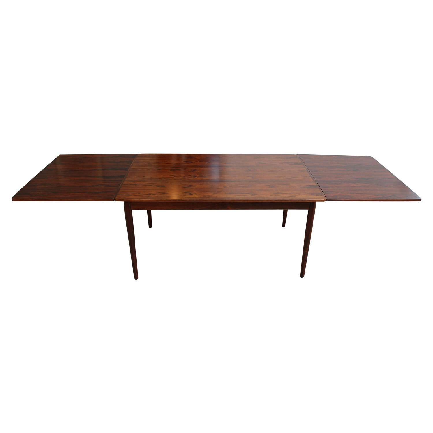 arne vodder 221 rosewood extension leaf dining table for