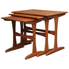 Set of 1960s Teak Nesting Tables, Danish Mid-Century Modern Børge Mogensen Style