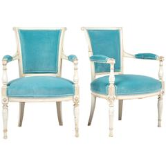 French Antique Directoire Style Pair of Velvet Armchairs